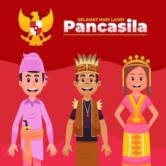 Cartoon pancasila dag illustratie