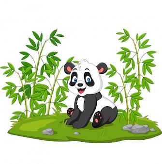 Cartoon panda in de bamboe boom