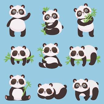 Cartoon panda kinderen. kleine panda's, grappige dieren met bamboe en schattige slapende pandabeer.