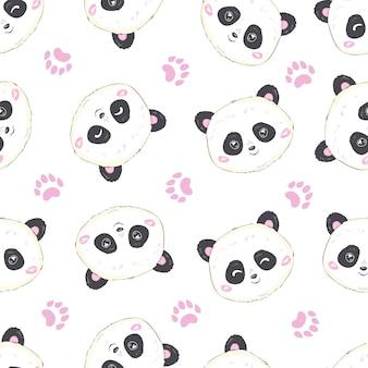 Cartoon panda naadloos patroon