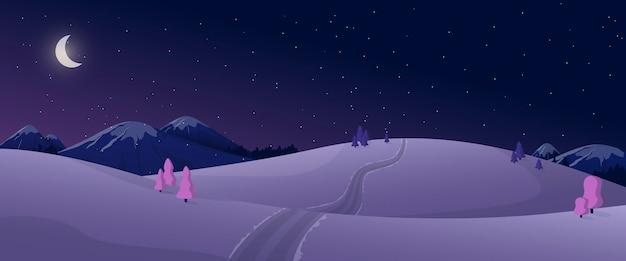 Cartoon panoramisch uitzicht op de natuur van de winternacht in zwarte en violette kleuren.