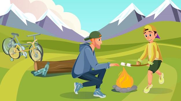Cartoon papa kind houdt marshmallow brochette op vreugdevuur