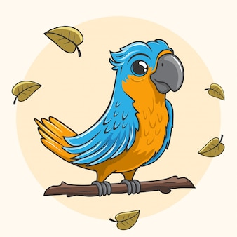 Cartoon papegaai ara blauwe vogel leuk