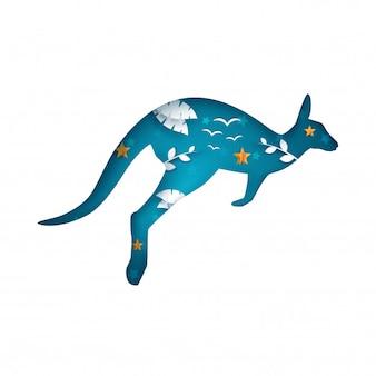 Cartoon papieren kangoeroe