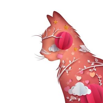 Cartoon papieren kat illustratie. heart air-ballon.