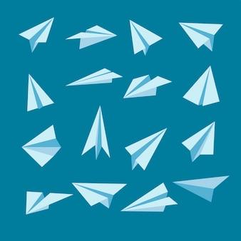 Cartoon papieren vliegtuig illustraties set
