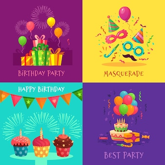Cartoon partij uitnodigingskaarten. viering carnaval maskers, verjaardagsfeestje decoraties en kleurrijke cupcakes illustratie set
