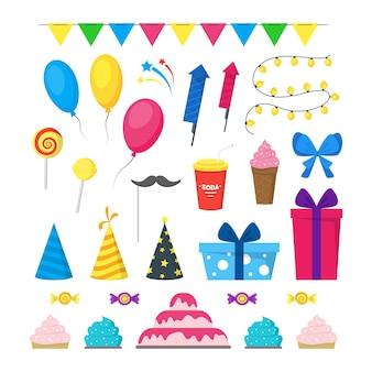 Cartoon partij vakantie kleur icons set vlakke stijl ontwerpelementen viering geïsoleerd op een witte achtergrond. vector illustratie