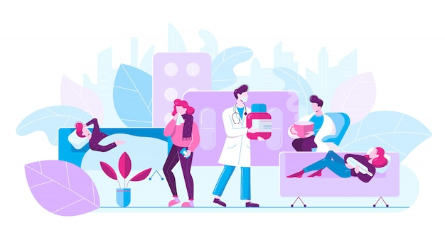 Cartoon patiënten met coronavirus in ziekenhuis met arts