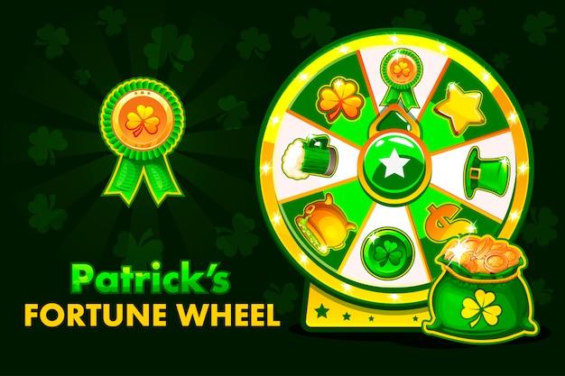 Cartoon patrick s gelukkige roulette, draaiend fortuinwiel. vakantie pictogrammen en symbolen