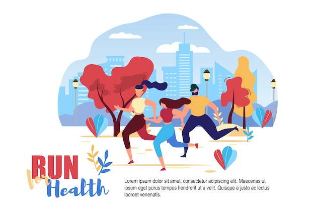 Cartoon people run voor health city street road