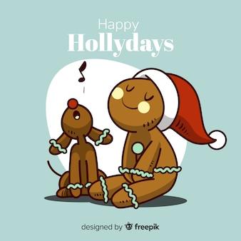 Cartoon peperkoek man kerstmis achtergrond