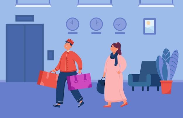 Cartoon piccolo helpt vrouwelijke gast bagage te dragen