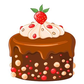 Cartoon pictogram chocolade-koffie cake met karamel siroop, aardbeien en slagroom.