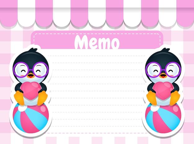 Cartoon pinguïn zittend op bal papier memo pads notitiesjabloon