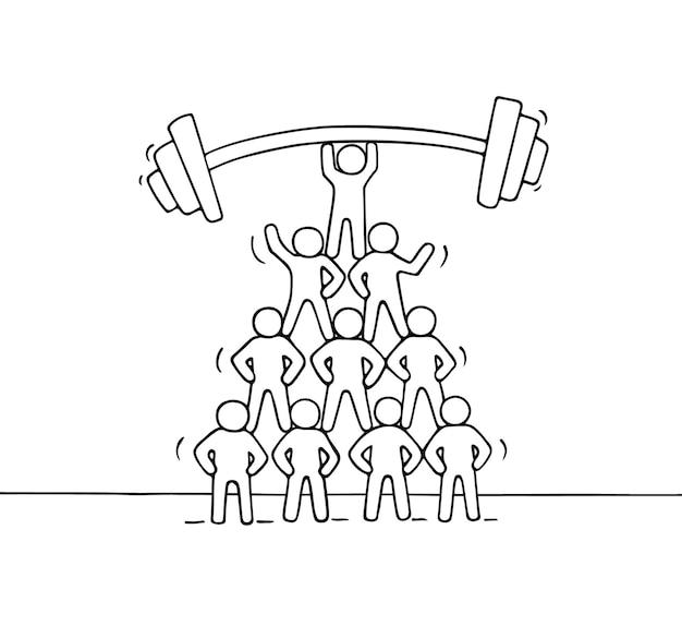 Cartoon piramide van werkende kleine mensen. hand getrokken illustratie voor zaken een financieel ontwerp.