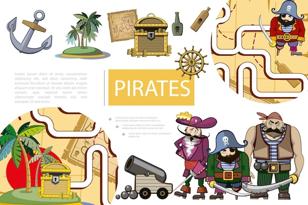 Cartoon piraten avontuur samenstelling met schip anker eiland kaart schatkist flessen rum stuurwiel kanon piraat karakters en spel labyrint illustratie