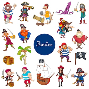 Cartoon piraten fantasy tekens instellen