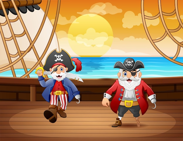Cartoon piratenschip met kapitein twee in de zee