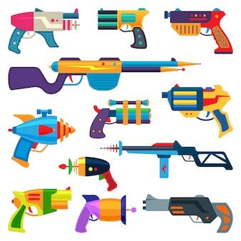 Cartoon pistool speelgoed blaster voor kinderen spel met pistool en raygun van aliens in de ruimte illustratie set kind pistolen en laserwapen geïsoleerd op witte achtergrond