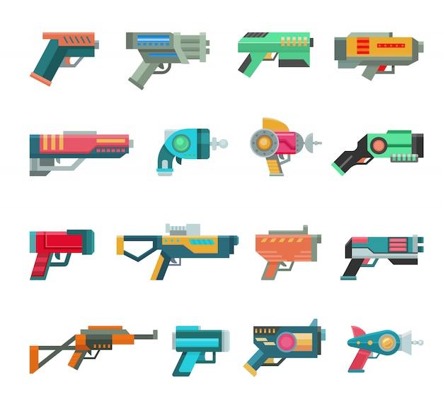 Cartoon pistool vector speelgoed blaster voor kinderen spel met futuristisch pistool en kinderen raygun van aliens