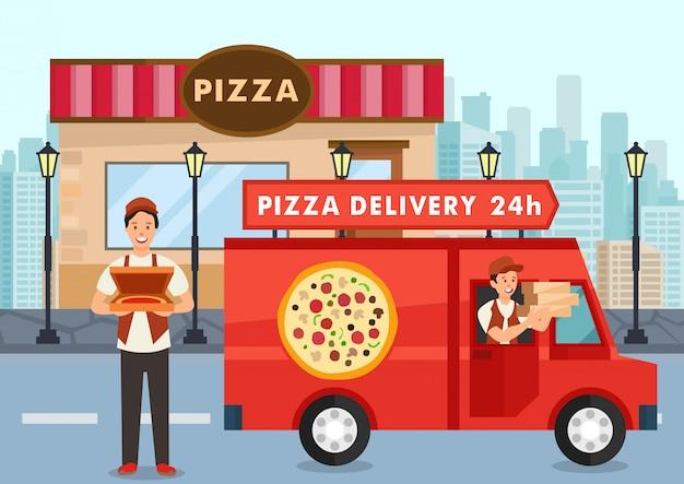 Cartoon pizza koerier op vrachtwagen draagt pizza bestellen