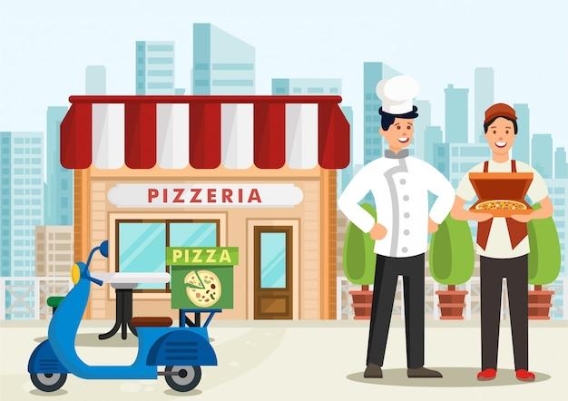 Cartoon pizzaiolo staande naast pizza koerier