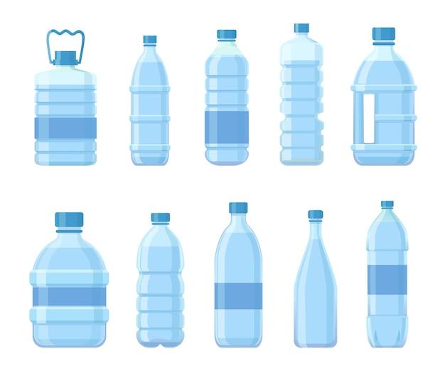 Cartoon plastic flessen met water. drankverpakkingen, pet containers voor drank, sap of frisdrank. blauwe verpakking voor mineraalwater vectorset. illustratie container water of fles plastic met vloeistof