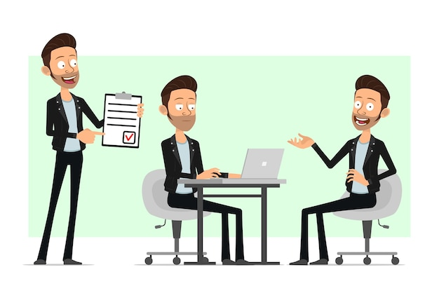 Cartoon plat bebaarde rock-'n-roll man karakter in leren jas. de jongen die van het bureau aan laptop werkt en to do lijst toont.