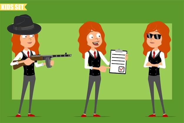 Cartoon plat grappig klein roodharige meisje karakter in pak met rode stropdas. kind schieten uit automatisch geweer en houden takenlijst. klaar voor animatie. geïsoleerd op groene achtergrond. set.
