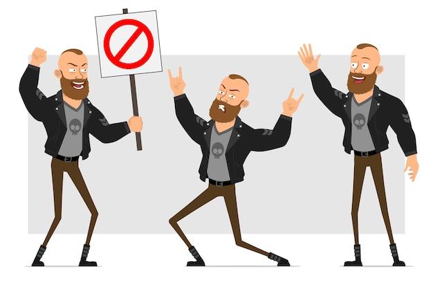 Cartoon plat grappig sterk karakter bebaarde punk man met mohawk in leren jas. jongen die rock and roll, hallo en geen ingangsteken toont.