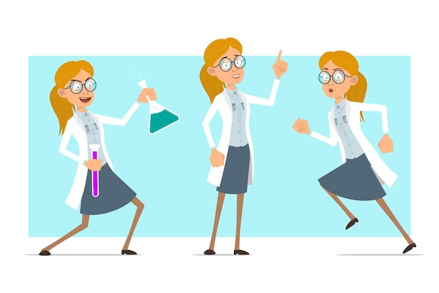 Cartoon plat grappige blonde dokter vrouw karakter in wit uniform en glazen. meisje dat chemische kolven houdt en waarschuwingsbord toont.