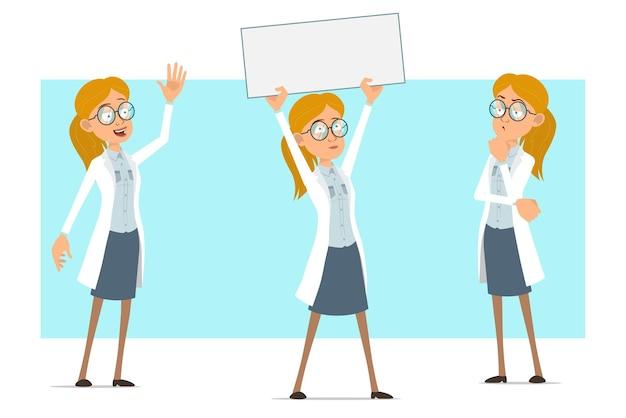 Cartoon plat grappige blonde dokter vrouw karakter in wit uniform en glazen. meisje denken en houden blanco papier teken voor tekst.