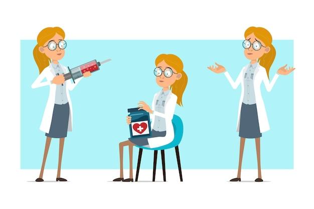 Cartoon plat grappige blonde dokter vrouw karakter in wit uniform en glazen. meisje drug pot houden en werken met medische spuit.