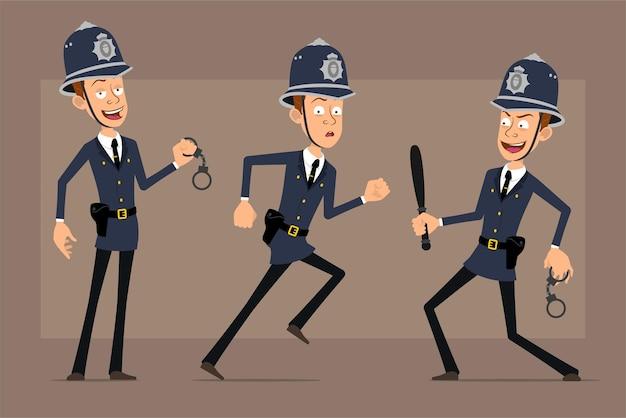 Cartoon plat grappige britse politieagent karakter in blauwe helm hoed en uniform. jongen die met handboeien en politiestokje loopt.