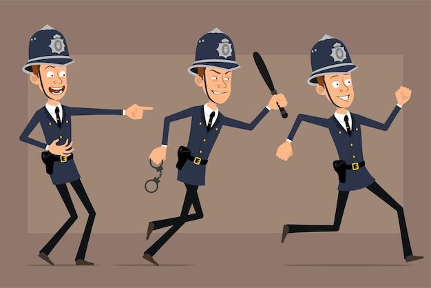 Cartoon plat grappige britse politieagent karakter in blauwe helm hoed en uniform. jongen lacht, loopt met handboeien en politiestokje.