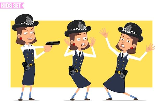 Cartoon plat grappige britse politieagent meisje karakter in helm hoed en uniform. meisje bang, boos, gek en schietend uit een pistool.