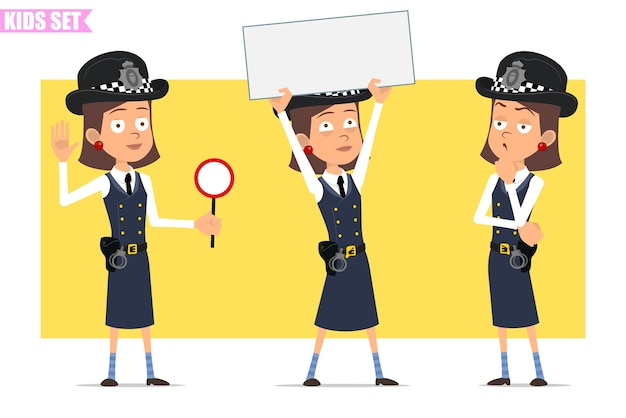 Cartoon plat grappige britse politieagent meisje karakter in helm hoed en uniform. meisje dat leeg teken voor tekst toont en stopbord houdt.