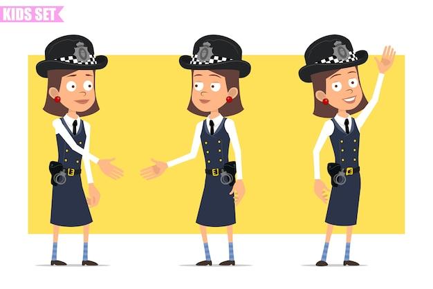 Cartoon plat grappige britse politieagent meisje karakter in helm hoed en uniform. meisje handen schudden en hallo zeggen.