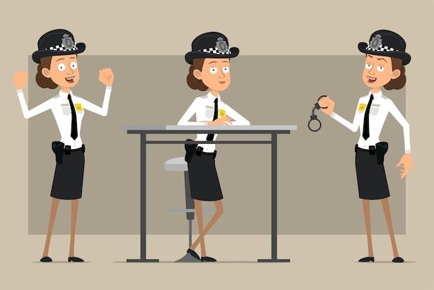 Cartoon plat grappige britse politieagent vrouw karakter in zwarte hoed en uniform met badge. meisje dat spieren toont en handboeien houdt.
