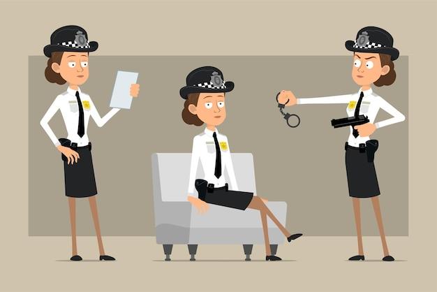 Cartoon plat grappige britse politieagent vrouw karakter in zwarte hoed en uniform met badge. meisje nota lezen en met handboeien.