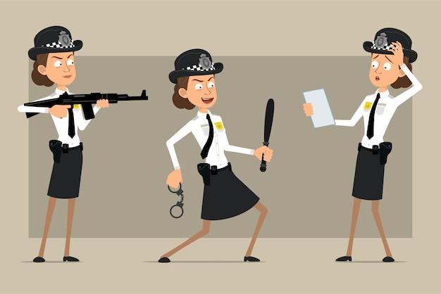 Cartoon plat grappige britse politieagent vrouw karakter in zwarte hoed en uniform met badge. meisje schieten uit geweer en handboeien vast te houden.