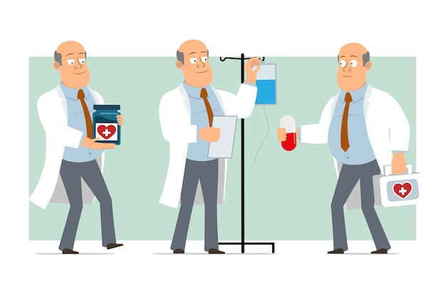 Cartoon plat grappige dikke kale arts man karakter in wit uniform met stropdas. de pil van de jongensholding en het dragen van medische ehbo-doos. klaar voor animatie. geïsoleerd op groene achtergrond. set
