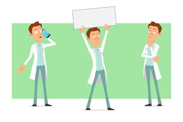 Cartoon plat grappige dokter man karakter in wit uniform met badge. jongen denken en houden blanco papier teken voor tekst.