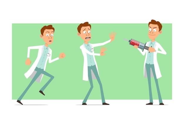 Cartoon plat grappige dokter man karakter in wit uniform met badge. jongen loopt en houdt medische spuit.