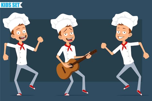 Cartoon plat grappige kleine chef-kok jongen karakter in wit uniform en bakker hoed. kid springen, dansen en rock spelen op gitaar.