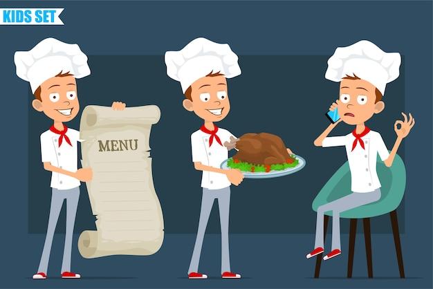 Cartoon plat grappige kleine chef-kok jongen karakter in wit uniform en bakker hoed. kind praten over de telefoon, menu en gebakken kalkoen te houden.