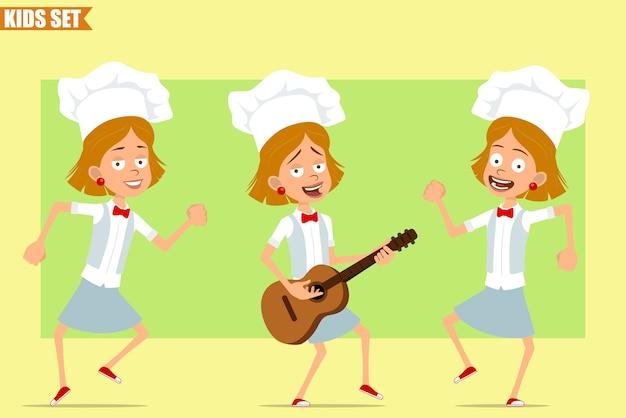 Cartoon plat grappige kleine chef kok meisje karakter in wit uniform en bakker hoed. kid springen, dansen en rock spelen op gitaar.