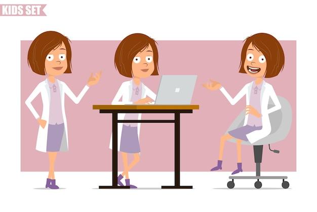 Cartoon plat grappige kleine wetenschapper arts meisje karakter