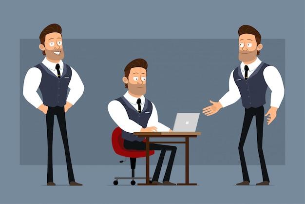 Cartoon plat grappige schattige sterke gespierde zakenman karakter met zwarte stropdas. klaar voor animaties. jongen die aan laptop werkt en handen schudt. geïsoleerd op grijze achtergrond. grote pictogramserie.